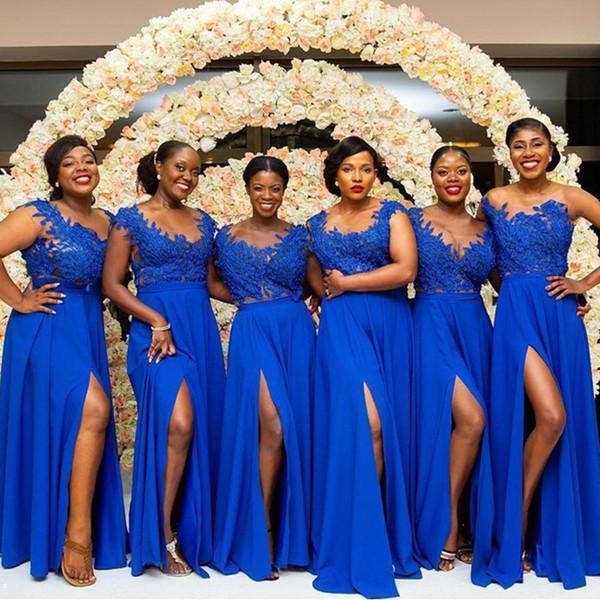 Royal Wedding 2020 Guest List.Royal Blue Scoop Neck Lace Chiffon Bridesmaid Dress 2020 Split Wedding Guest Dresses Long Prom Gowns Zipper Back Floral Print Bridesmaid Dresses
