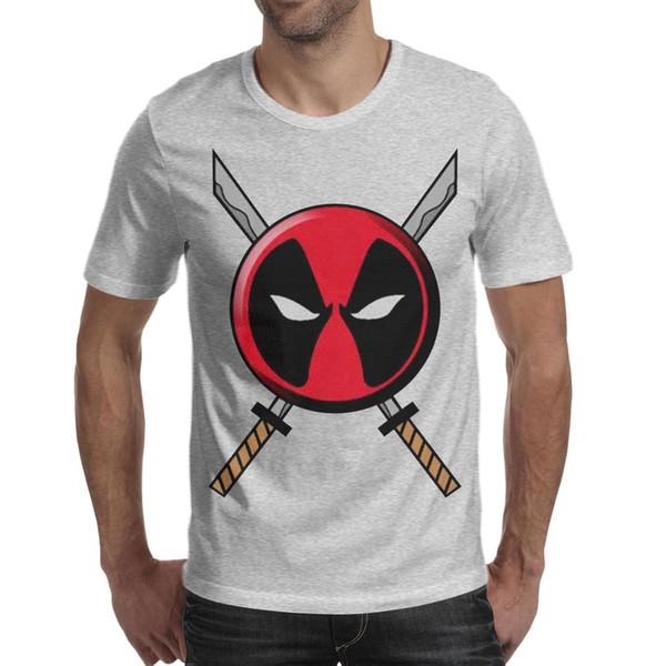 Футболка Deadpool Icon с логотипом и мечами Мужская футболка с круглым вырезом с коротким рукавом Топы серый
