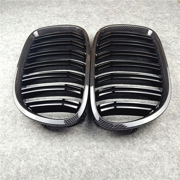 top popular 2-Slat Glossy black  M color Car Grilles Carbon look Front Air Intake Grille For BM-W 7 Series F01 2021
