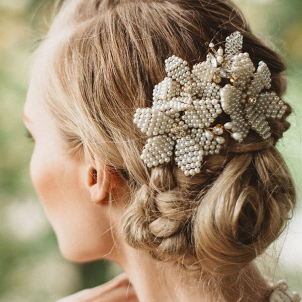 crystal clip TUANMING Luxury Gold Accessories Handmade Pear Women Comb Crystal Clip Headpiece Wedding Bridal Hair Jewelry Prom
