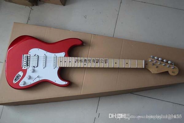 Qualidade superior atacado com 6 cordas fingerboard bordo guitarra quadrados vermelhos st DFSE guit elétrico