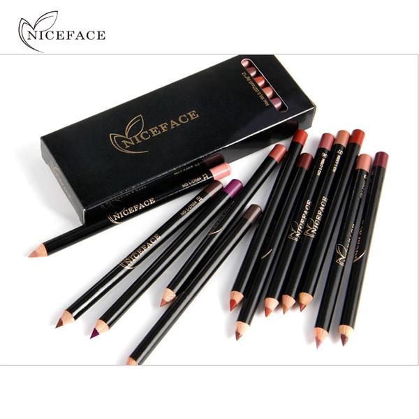 Directamente en la fábrica Niceface Pro 12pcs / set Colores Impermeable Lápiz delineador de labios Lápiz de larga duración Ojos Cosméticos Labios Belleza Belleza Kits