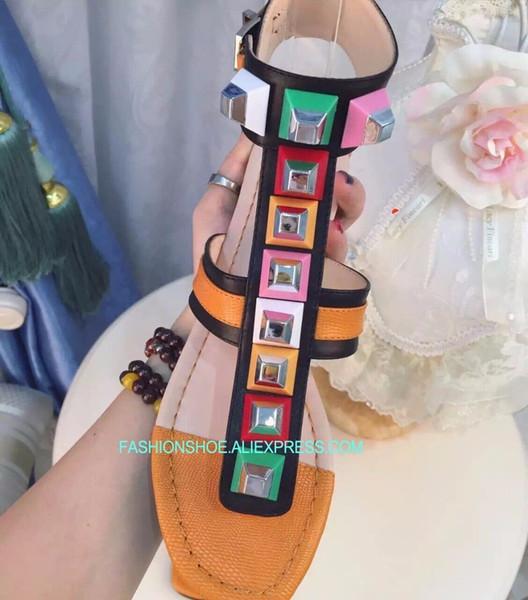 Nuevo Zapatos De Pisos 2018 Gladiadores Sandalias Cuero Compre Stud QdCxWoBer