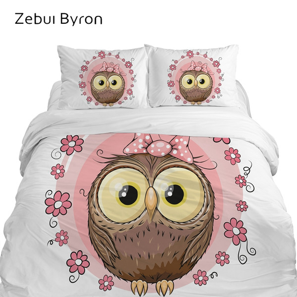 3D children's bedding sets luxury,bed set Queen /King/Twin/Full size,Cartoon duvet cover set for baby/kids/boys,Cute pink owl