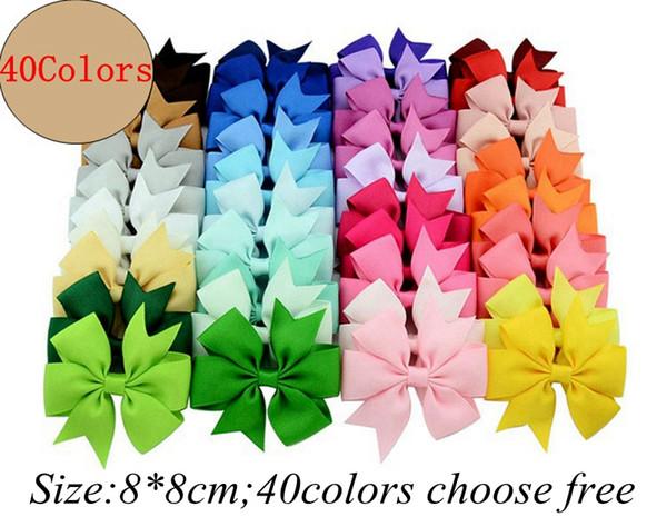 3.3-3.5Inch Infant Ribbon Bows mit Clip, Volltonfarbe Bögen Clip, Baby Haarschleife, Boutique Haarschmuck Mädchen Haarspangen 40color chooseKA3955