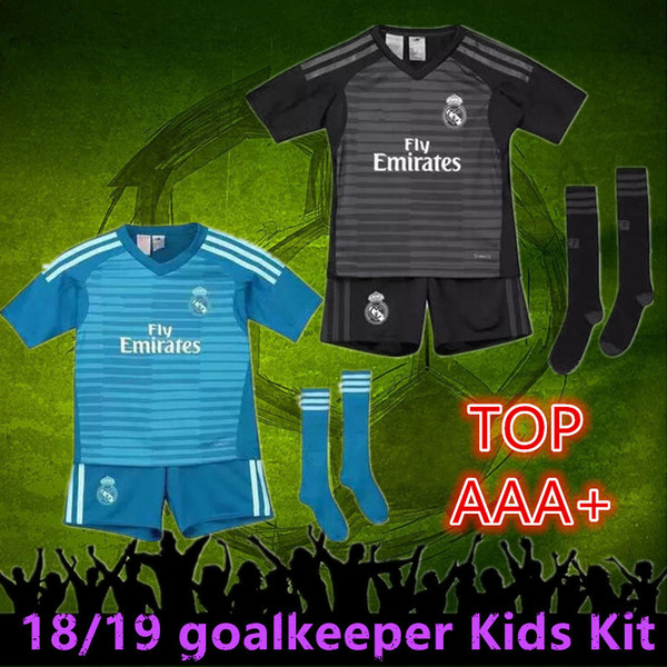 sports shoes 3456f 2a2a5 2018 2018 2019 Real Madrid Goalkeeper Balck Kids Kit+Socks Soccer Jersey 18  19 Real Madrid #1 NAVAS Blue Soccer Shirt COURTOIS Football Uniform From ...