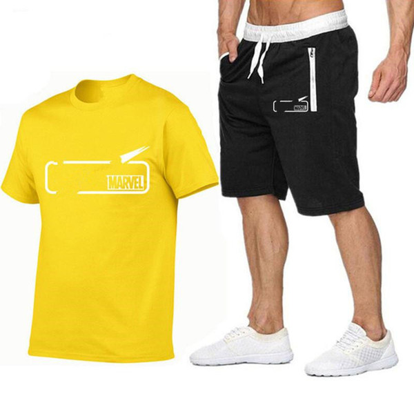 best selling Brand Mens T Shirt +Shorts Set Summer Short Sleeve Tracksuit Gyms Casual Male T Shirt 2 Piece Brand Clothing Size S-2XL