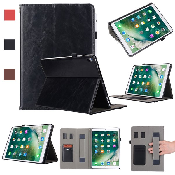 Half Genuine pu Leather Tablet Folding case for iPad PRO 10.5 ipad 5 6 with stand shockproof Dormancy Cover Leather Tablet Case