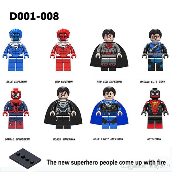 Super Heroes Blue Red Black Superman Racing Suit Tony Zombie Spiderman Collection Children Toys Gifts D001-008
