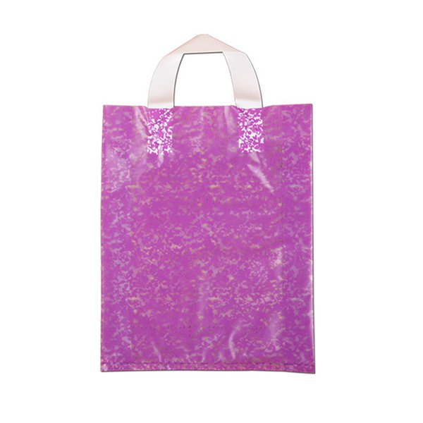 100PCS / LOT Storage Gift Bag Plastic Print Plastic Bags With Handles Clothes Supermarket Shopping Package Bag Wedding