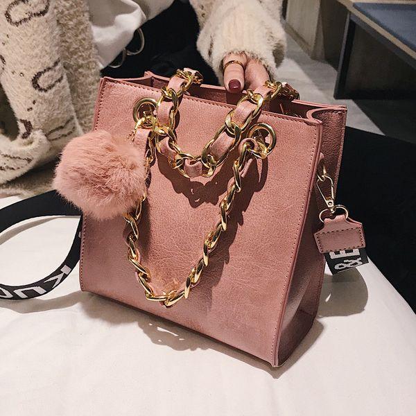 Fashion Women's Designer Handbag Hair ball Female Chain Messenger Bags for woman Tote Bag Ladies Flap Crossbody Bags bolsas pink