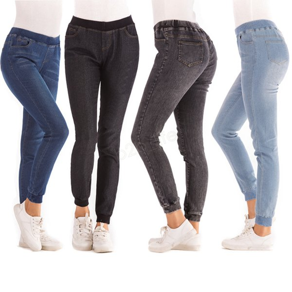 Women Stretch Jeans Designer Solid Denim Long Pants Sexy Bodycon Skinny Slim Jeans Elastic Waist Clothes plush size LJJA2754