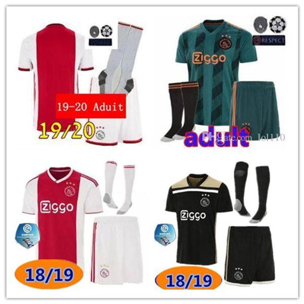 Top qualidade 2019 2020 kits Ajax futebol Jersey VAN DE BEEK De Jong ZIYECH Melik Dijks EL Ghazi YOUNES 18 19 Ajax camisa kit de futebol uni