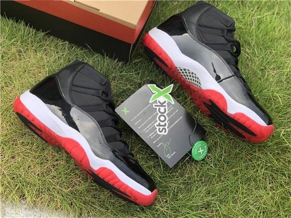 Горячие 2019 11 Bred Og High Black White-Varsity Красный 45 Баскетбол обувь 378037-061 Real Carbon Fiber Открытый обувь кроссовки с коробкой