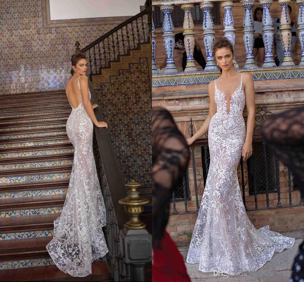 2019 Berta Full Lace Mermaid Wedding Dresses Sexy Plunging V Neck Backless Illusion Bodices Wedding Bridal Gowns Fashion New Wedding Gowns