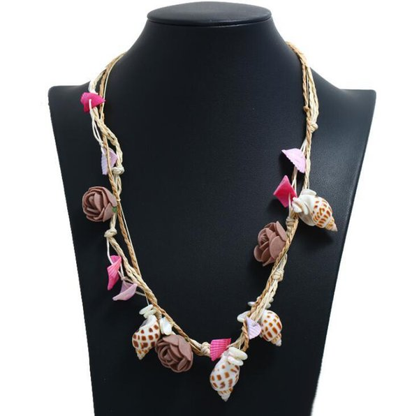 2019 New Arrival European and American Natural Handmade Shell Sea Snail Colorful Pendant Necklace for Women