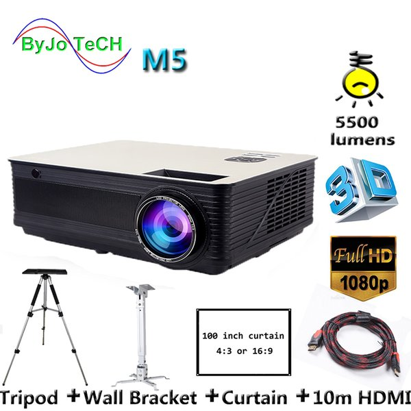 top popular Poner Saund M5 LED Projector 5500 Lumen Full HD 1080P Double HIFI speakers With 10m HDMI Tripod 3D Proyector LCD Vs led96 2019