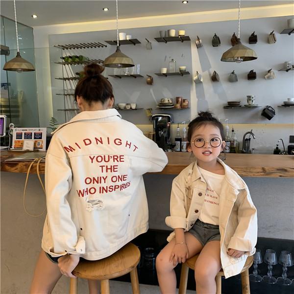 Anne ve kızı eşleştirme kıyafetler çocuklar mektup işlemeli kot ceket moda kızlar delik yaka uzun kollu kovboy giyim F9588