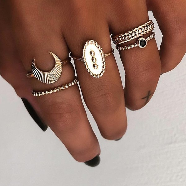 Tisonliz 5pcs/Lot Simple Bohemia Moon Crystal Knuckle Rings Set For Women Engagement Midi Finger Rings Anillos Party Jewelry
