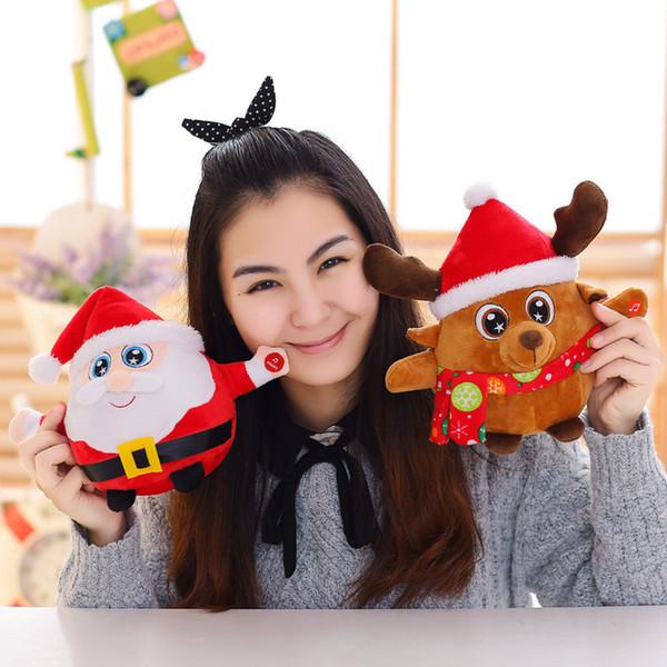 De noël père noël poupée jouet avec musique LED allumer des ornements de noël décoration pour la maison noël nouvel an nouveauté bâillon jouets enfants en peluche