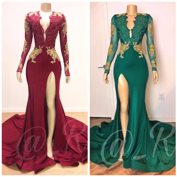 top popular 2020 Dark Red Sexy Mermaid Prom Dresses V Neck Long Sleeves Sequined Beaded Evening Dresses Formal Party Dresses Wear Vestidos 2020
