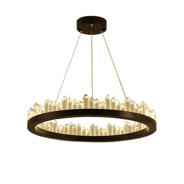 imitation à distance de luxe nordique haute naturel cristal de haute qualité Pendent lampe circulaire Minimaliste Designer restaurant Ménage Salle Lampes