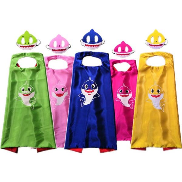Bebek Köpekbalığı Robe Pelerin Pelerin Maske ile Çocuklar Cosplay Kostüm Çocuk Karikatür pelerinler Set Doğum Günü Partisi Cadılar Bayramı Malzemeleri 5 stilleri 4945