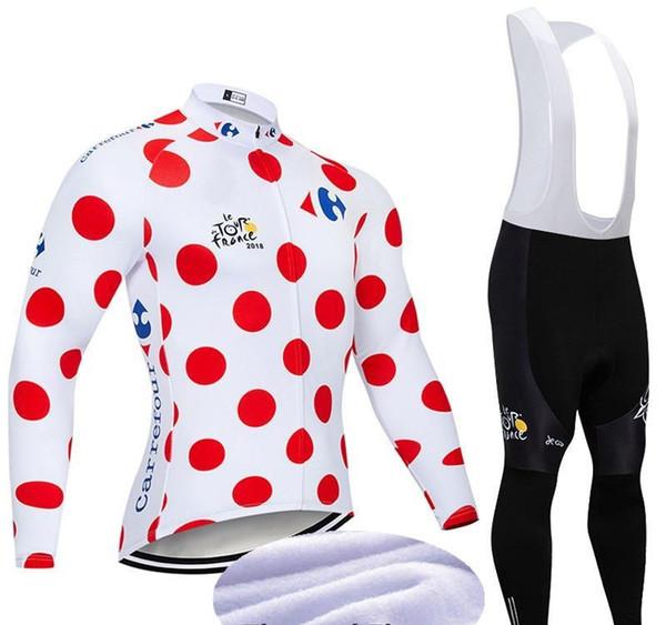 Hiver chaud Garder TOUR DE FRANCE long vélo Maillot manches vélo chemise bavette costume pantalon Ropa Ciclismo thermique molleton pour hommes vélo Uniforme