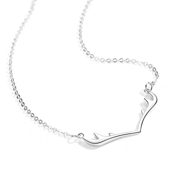 Birthday gift Sterling Silver clavicle chain a deer with your antler Necklace girl 925 silver Xiaozhong net red temperament