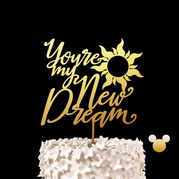 Personalized You're my New Dream Wedding Cake Topper With Sun Rustic Romantic Engagement Bridal Shower Party Decor