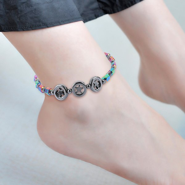 New Magnetic oval hematite stone bead Anklets bracelet Rainbow color women Summer beach Health Energy Healing anklets model foot Jewelry