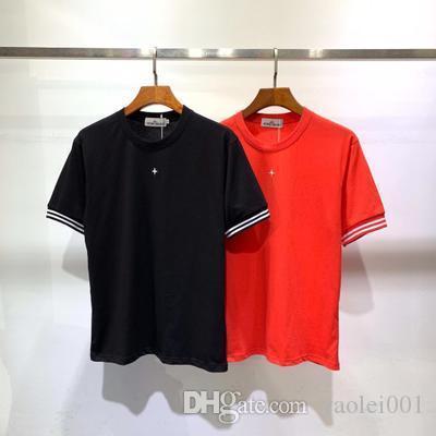Летняя мужская футболка модного бренда каменные звезды вышивка крестом простая повседневная футболка горячая мужская хлопок шею футболка оптом в розницу