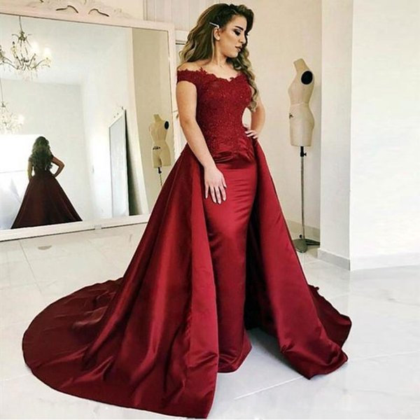 Designer Burgundy Lace Evening Dresses With Detachable Train Off The Shoulder Plus Size Beaded Formal Dress Appliqued Overskirt Prom Gowns