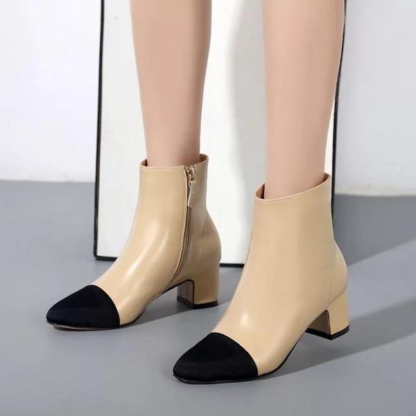 freies Schiff! GG 34/40 Echtleder Cap Toe Ferse kurze Stiefel Beige Schwarz Mode Modewahlen