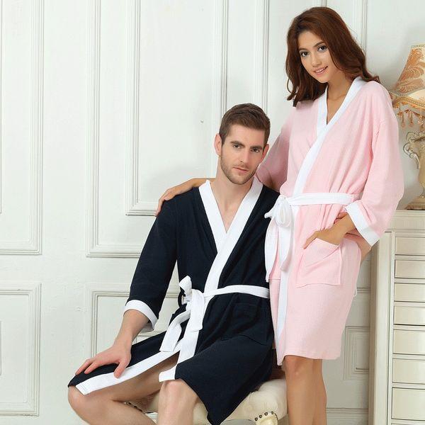 636643277e Spring Summer Waffle Bathrobe Women Cotton Kimono Robe Ladies Pajama Long  Soft Sleepwear Solid Color Breathable