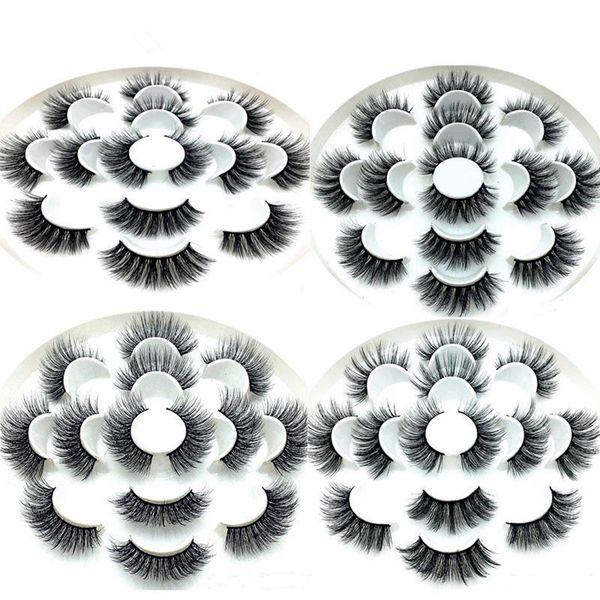 3D Vizon Kirpikler Doğal Yanlış Eyelashes Uzun Kirpik Uzatma Sahte Sahte Göz Lashes Makyaj Aracı 7 Çift / takım RRA649