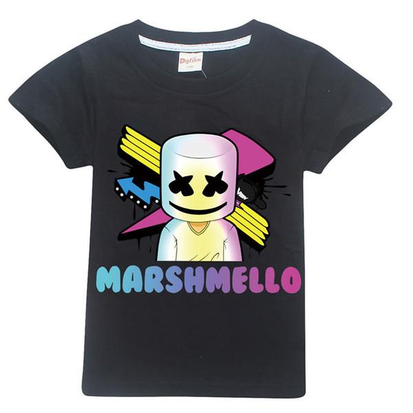 Máscara de dibujos animados Dj Marshmello Niños 100% algodón Camisetas Ropa para bebés Bobo Tops 2019 Juego Camisa Quincenios Disfraces Y19051003