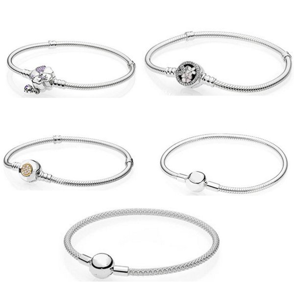 100% 925 Sterling Silver Classic Gem Star Snowflake Rose Gold Snake Bone Basic Pan Bracelet Original Women Wedding Jewelry