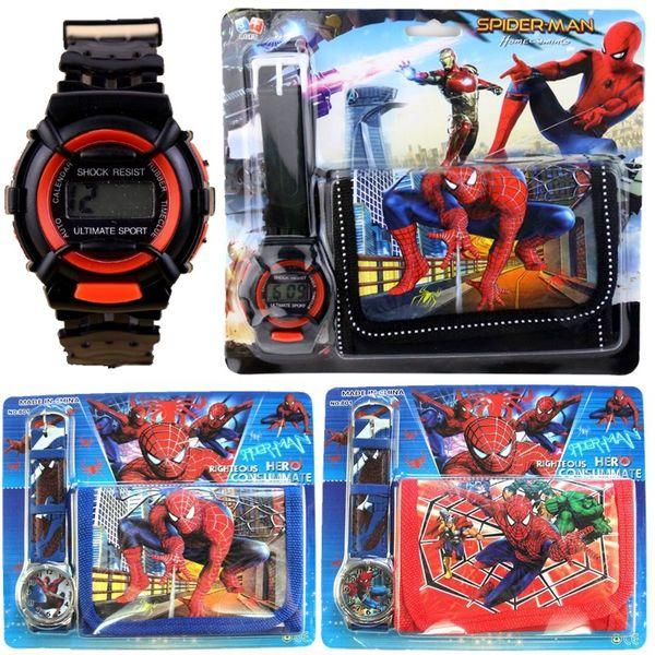 Wholesale kids children boys girls fashion digital watches and wallet sets spiderman christmas birthday gift cartoon watches