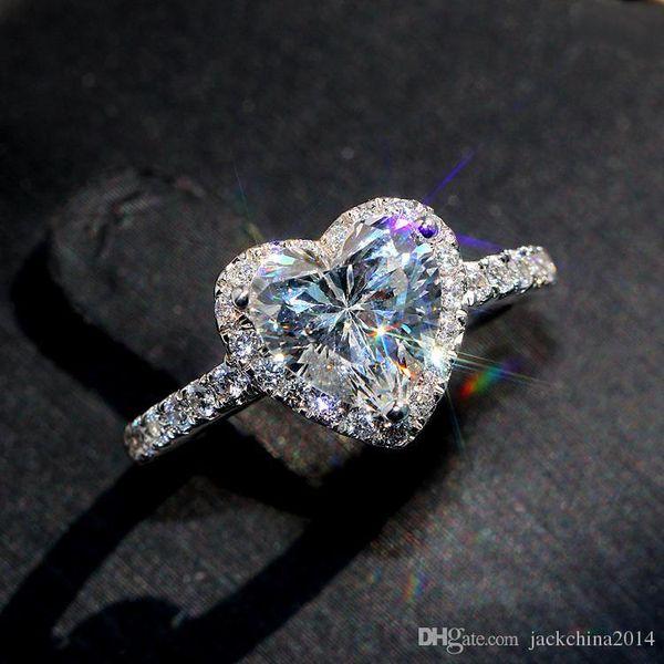 Fashion4U99 Free Classical Luxury Jewelry s925 Sterling Silver Pear Cut White Topaz CZ Diamond Promise Eternity Wedding Heart Ring for Women