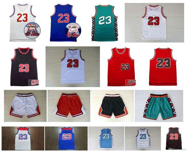 Calidad superior! North Carolina College 23 Michael Jersey Vintage Basketball College 96 All Star Pantalones cortos de baloncesto retro Ropa deportiva Jersey
