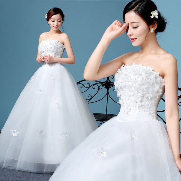 2019 sweet style for weddind wearing dress fashion skirts for girls strapless lace flower soft suitable material