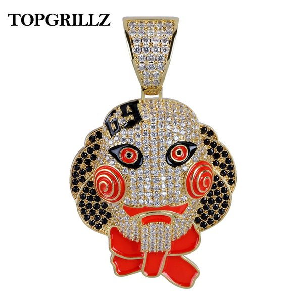 Personalized 69 Saw Clown Pendant Necklace Iced Out Gold Silver Color Chains With Tennis Chain Hip Hop Men Women Charms Jewelry