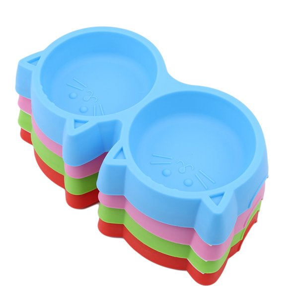 Plastic dog cat bowl outdoor travel cat puppy double bowl water drink feeder pet supplies