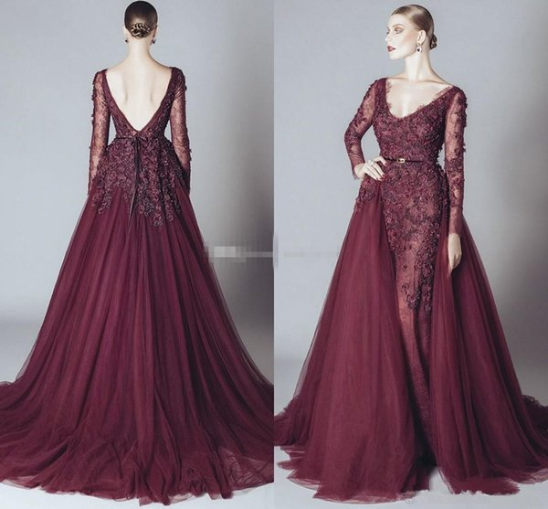 Elegant Backless Burgundy Lace Formal Celebrity Evening Dresses V Neck Long Sleeves 2019 Elie Saab Middle East Arabic Prom Party Gowns Cheap