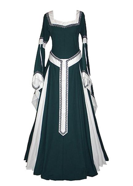 Cosplay médiéval huile tissu robe longue rétro Maxi femme Renaissance robes l'Europe gothique jupe volantée victorienne