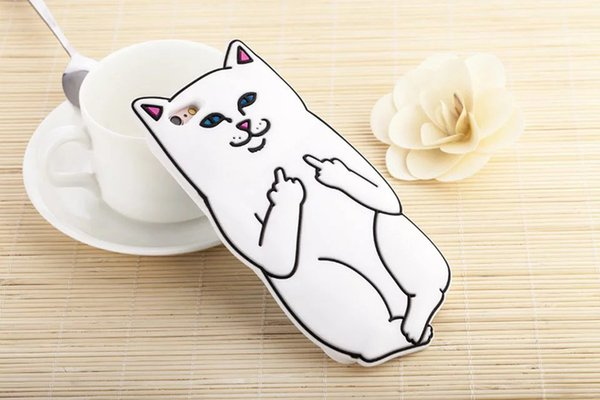 Wholesale Soft of Silicone Case For iphone 8Plus XS X 6 6s 7 8 Plus Case 3D Middle Finger Cat Phone Case Back Cover