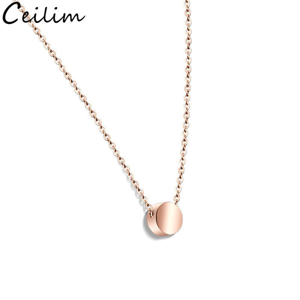 Em branco Pequeno Coração Pingente de Colar de Aço Inoxidável Rodada Charme Colar de Ouro Rosa de Ouro de Prata Em Branco Jóias Para O Comprador Própria Gravura DIY