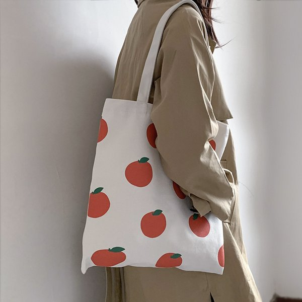Lady Womens Girl Girlish Student Shoulder Bag Tote Canvas Bag Fruit Cute Pattern Fresh Simple Style Schoolbag Vacation B102174Z