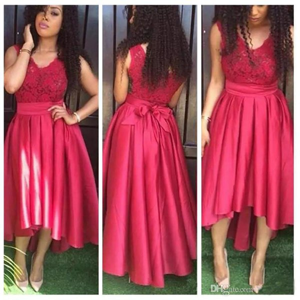 2019 Sexy V-neck Red Lace Women Prom Dresses Hi-Lo Hot Backless Big Sash Bow Formal Evening Dresses A-line Bridesmaid Gowns with Ruched